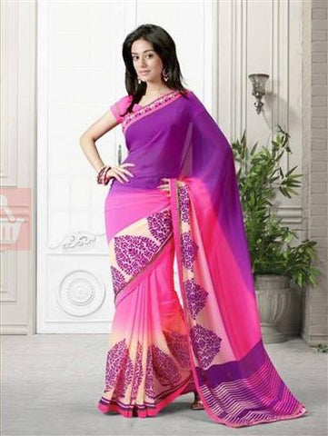 Vinay 15366 Purple and Pink Georgette Saree