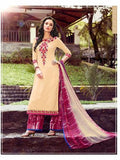 NS11752  Beige and Dark Magenta Cotton Straight Suit