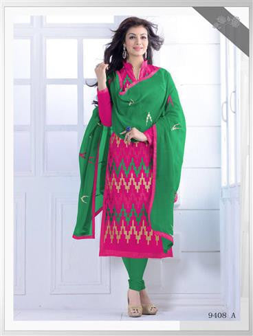 NS11546 A Magenta and Green Party Wear Silk Chanderi Straight Suit
