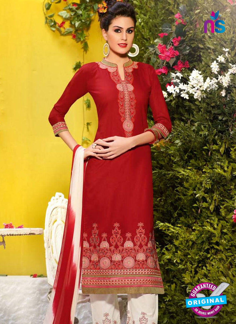 NS10500 Red and White Cambric Cotton Straight Suit