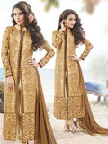 NS11887 Brown Satin Cotton Straight Suit