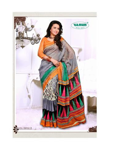 NS11841 A Orange and Slate Blue Cotton Based Saree