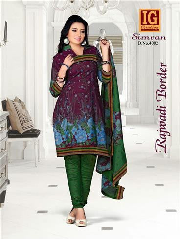 NS11704 ViolatePurple and ForestGreen Printed Popplin Cotton Daily Wear Chudidar Suit