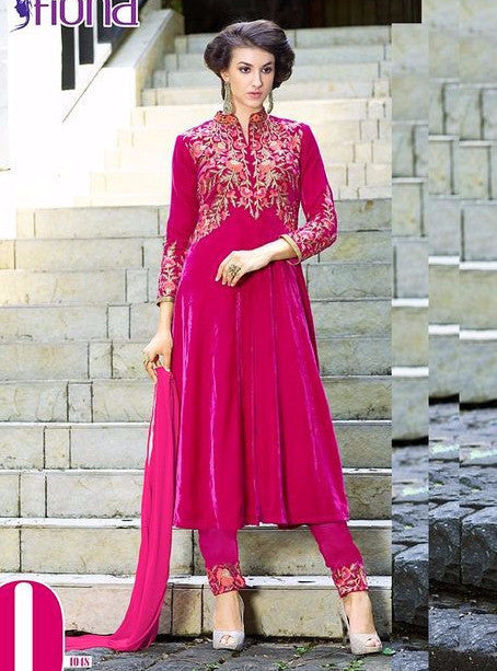 Fiona 1048  Pink Color Velvet Long Designer Suit