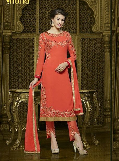 Fiona 1067  Peach Color Georgette Designer Suit