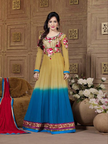 Fiona 1501  Blue & Beige Color Georgette Designer Suit
