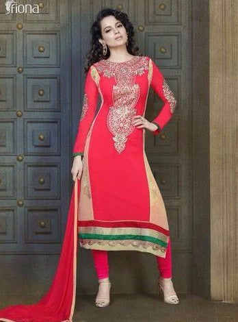 NS10507  Red Color Georgette Long Designer Suit