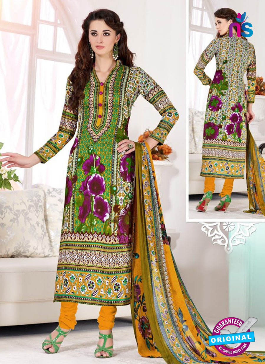 NS10526 Green and Yellow Cotton Satin Casual Straight Suit