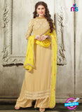 NS10540 Beige and Yellow Georgette Designer Plazo Suit