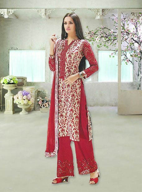 Ganga 0007 Red Color Pashmina Designer Suit