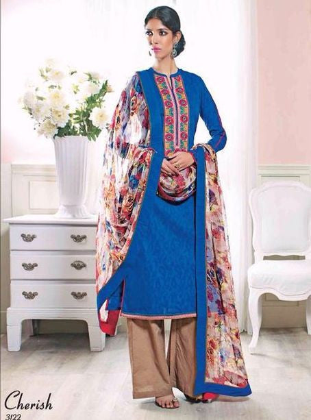 Ganga 3122 Blue Color Cotton Self Print Long Designer Suit