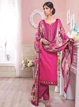 Ganga 3127 Pink Color Cotton Self Print Long Designer Suit