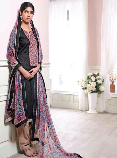 Ganga 3129 Black Color Cotton Self Print Long Designer Suit