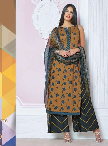 Ganga 3409 Yellow Color Cotton Long Designer Suit