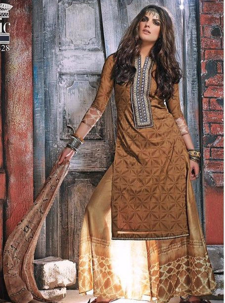 Ganga 3428 Brown Color Designer Pakistani Style Cotton Suit Dupatta