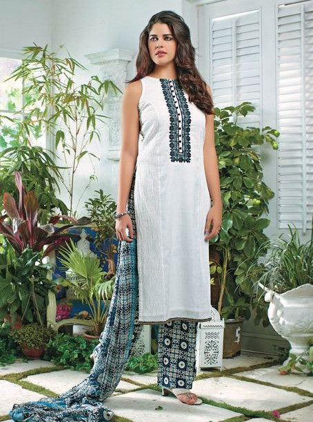 Ganga 3506 White Color Lawn Cotton Designer Suit