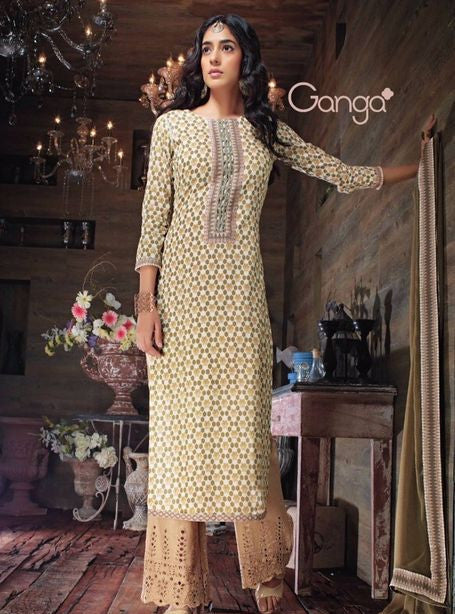 Ganga 3537 Beige Color Cotton Designer Suit