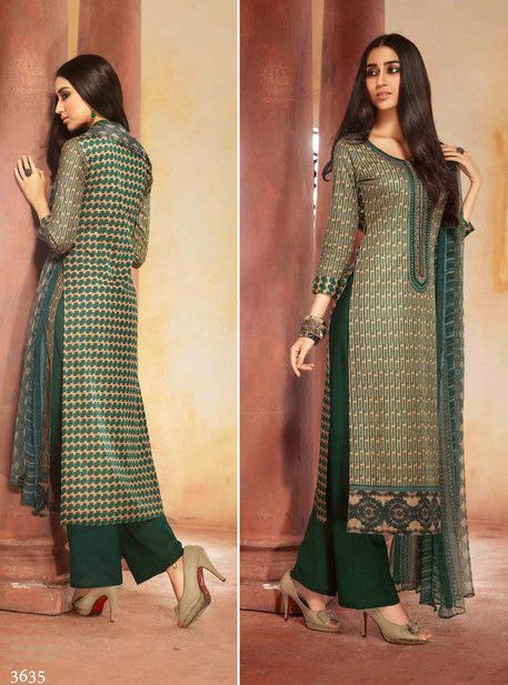 Ganga 3635 Green Color Glazed Cotton Designer Suit