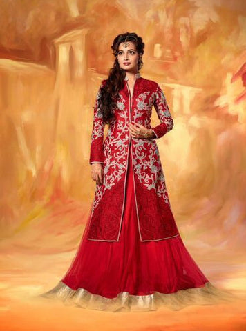 NS10594  Red Color Net Lehnga Designer Suit