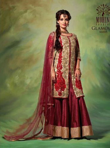 NS10595  Red Color Silk Lehnga Designer Suit