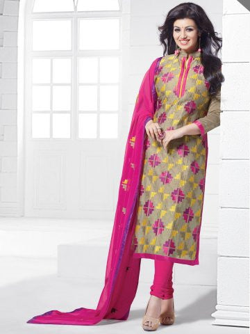 NS11544 Beige and Pink Party Wear Silk Chanderi Straight Suit