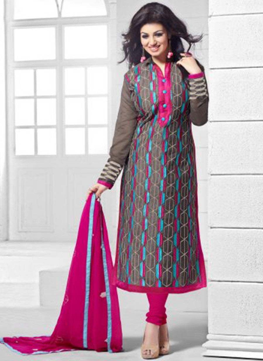 NS11543 Grey and Pink Party Wear Silk Chanderi Straight Suit