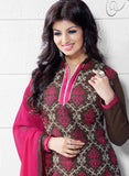 NS11545 Brown and Pink Party Wear Silk Chanderi Straight Suit Online