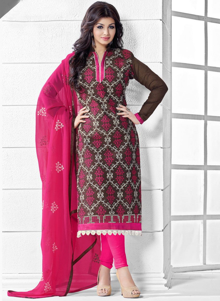 NS11545 Brown and Pink Party Wear Silk Chanderi Straight Suit