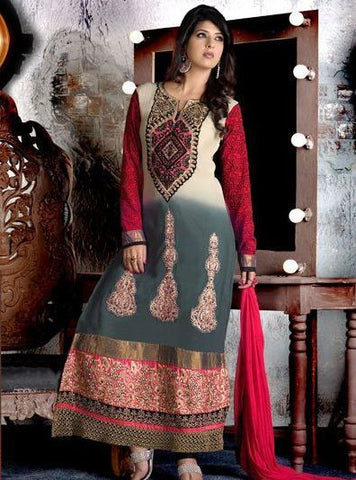 NS10607  Grey & Red Color Georgette Designer Suit