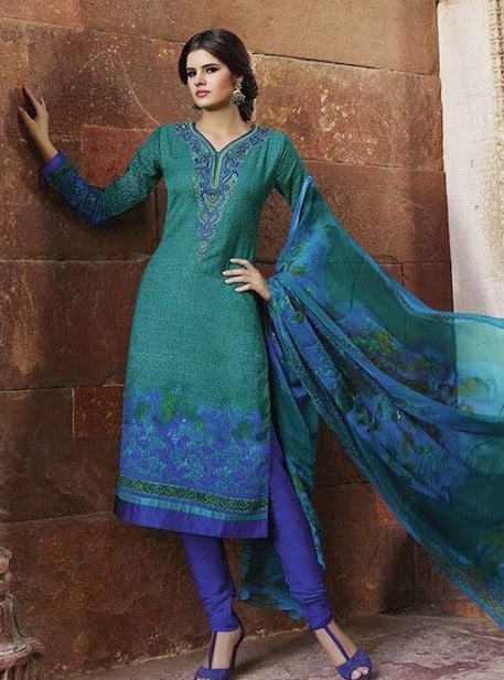 Glossy 907A  Green & Purple Color Pashmina Designer Suit