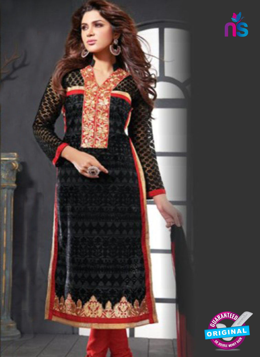 NS10627 Black and Red Cotton Straight suit