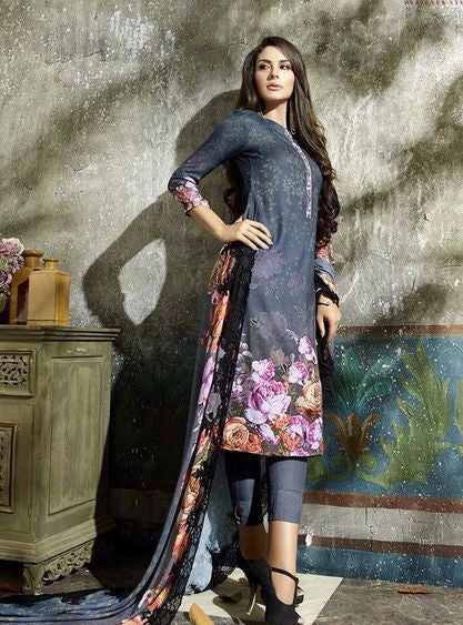 NS10641  Grey Color Pashmina Long Designer Suit