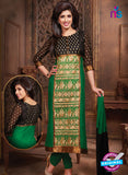 NS10673 Black and Green Cotton Designer Straight Suit