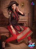 NS10675 Brown and Red Designer Straight Suit Online