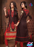 NS10675 Brown and Red Designer Straight Suit