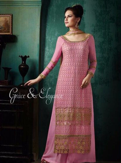 Haya 5642 Pink Color Chiffon Long Designer Suit