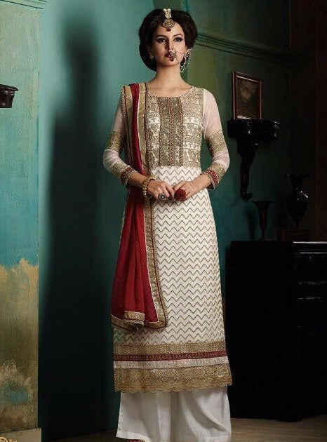Haya 5650 White Color Chiffon Long Designer Suit