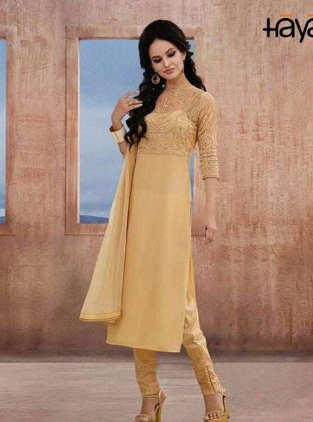 Haya 5664 Beige Color Georgette Long Designer Suit