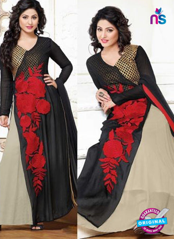 NS10705 Black and Red Party Wear Georgette Designer Suit