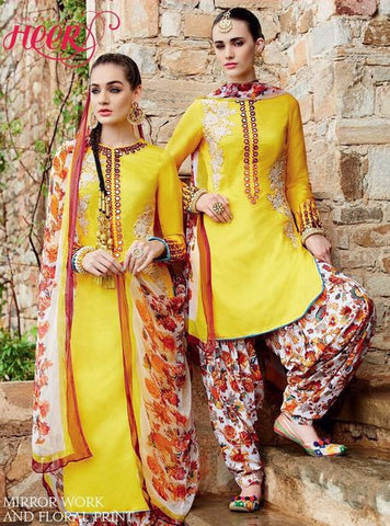 NS10721 Yellow Color Satin Cotton Designer Suit