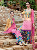 NS10725 Yellow & Pink Color Satin Cotton Designer Suit