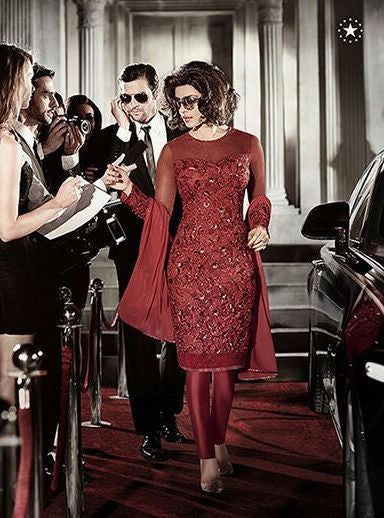 Heroine 5118 Red Color Net Straight Cut Style Designer Suit