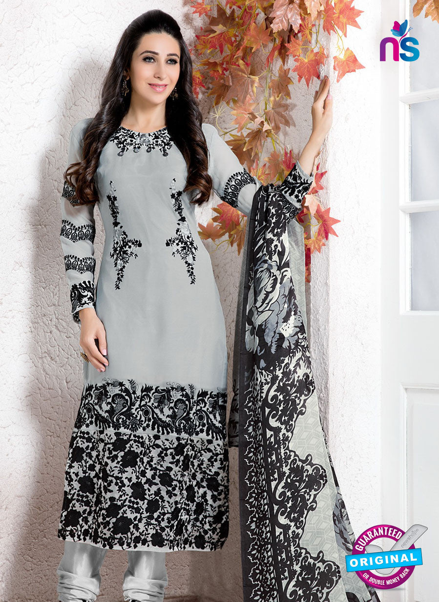 NS10737 Gray and Black Georgette Party Wear Straight Suit
