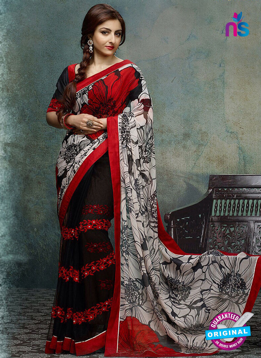 NS10744 Gray Red and Black Designer Saree