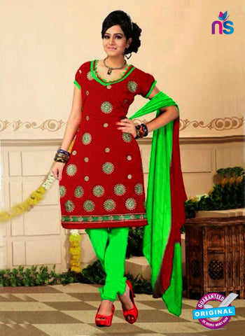 NS10745 Red and Green Yellow Daily Wear Chanderi Salwar Suit