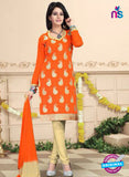 NS10746 Orange and Beige Daily Wear Chanderi Salwar Suit