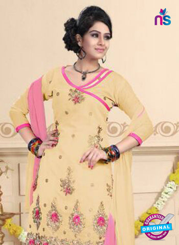 NS10747 Beige and Deep Pink Daily Wear Chanderi Salwar Suit