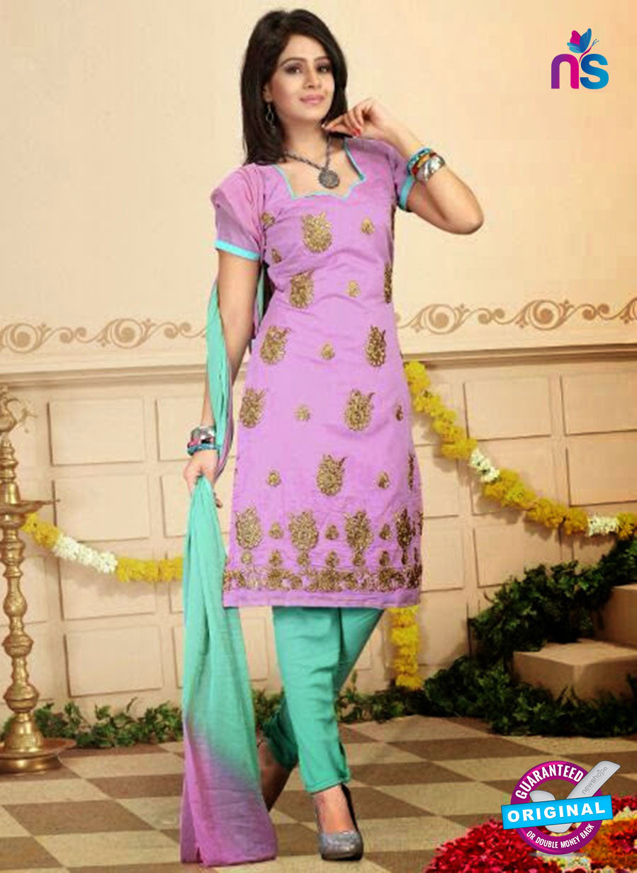 NS10748 Lavender and Green Daily Wear Chanderi Salwar Suit