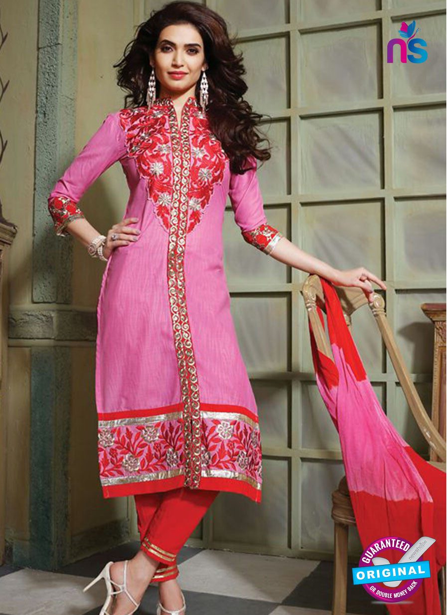 NS10756 Red and Deep Pink Pure Cotton Daily Wear Long Straight Suit