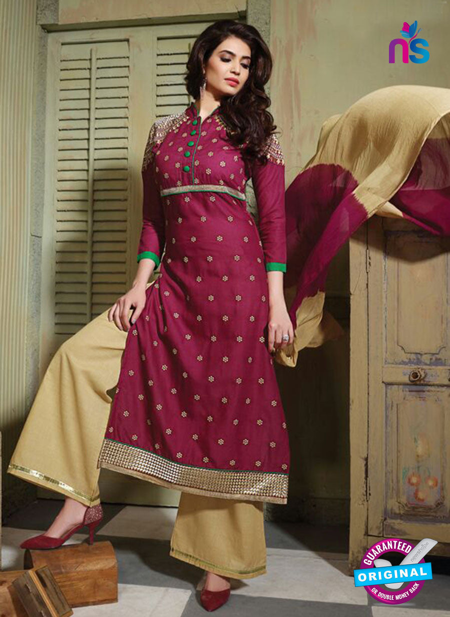 NS10757 Maroon and Sandy Brown Pure Cotton Daily Wear Long Straight Suit